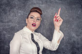 Strict teacher showing finger — Stock Photo