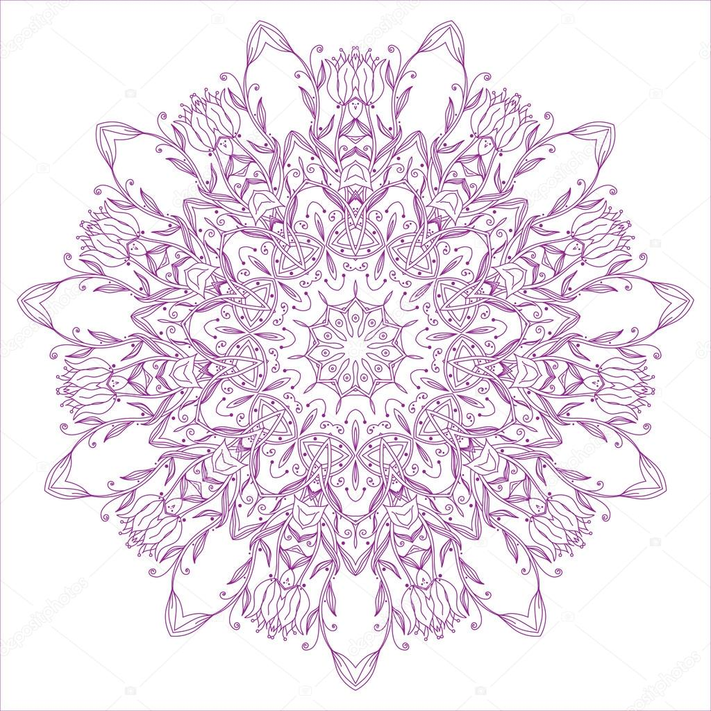 Ornamental round floral pattern, circle lace background — Stock Vector #12697803