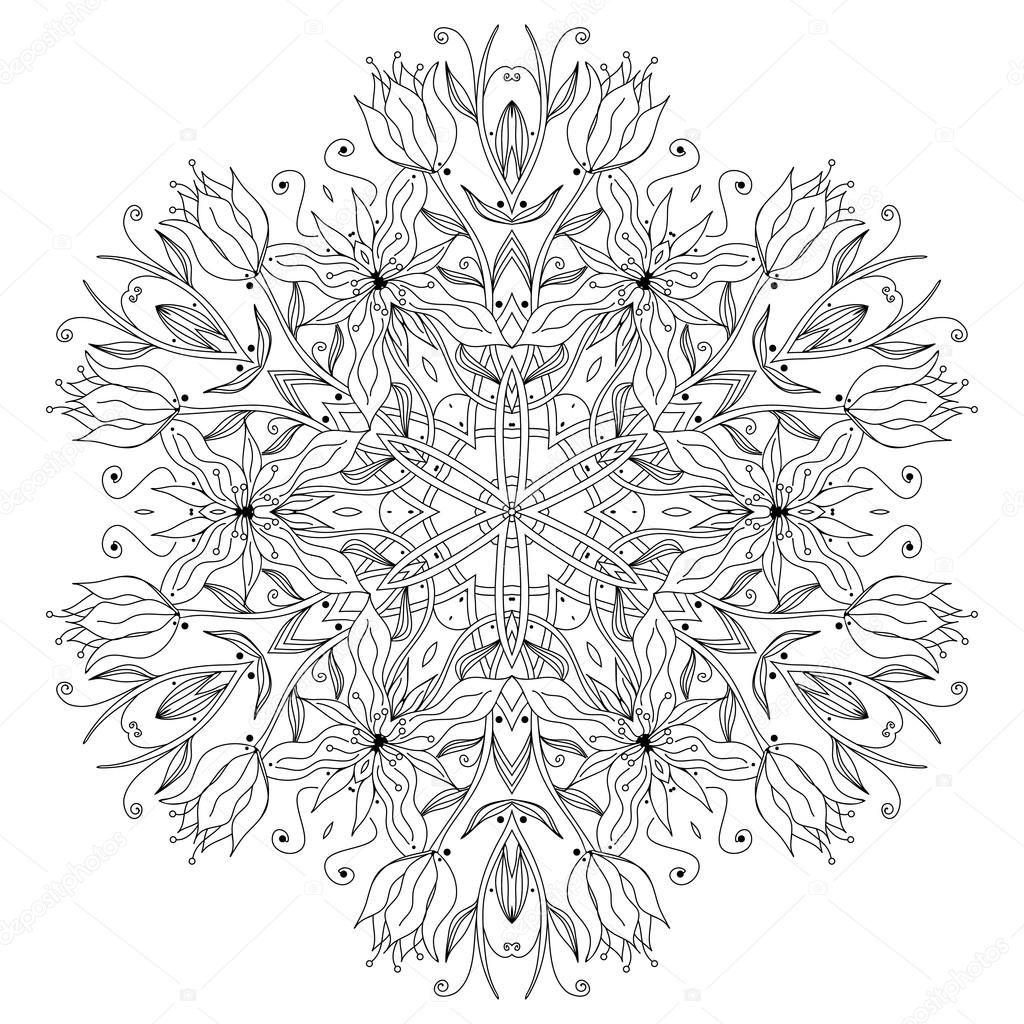 Ornamental round floral pattern, circle lace background — Stock Vector #12859969