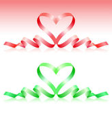 Red and green ribbons in the form of heart — Stock Vector