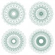 Set of vector guilloche rosettes - Stok Vektör