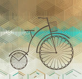 Retro Bicycle on a Color Background — Stock Vector