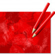 Two Red Pencils — Stock Vector