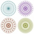 Set of Color Vector Guilloche Rosettes — Stockvektor