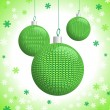 Three Green Knitted Christmas Balls — Stock Vector
