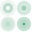 Set of Green Vector Guilloche Rosettes — Stock Vector