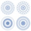 Set of Blue Vector Guilloche Rosettes — Imagen vectorial