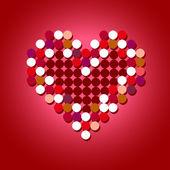 Röd halvton vektor hjärta — Stockvektor