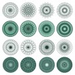 Set of Green Vector Guilloche Rosettes — Stock Vector