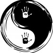 Yin yang, heart and hands - Stock Vector