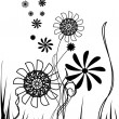 Vector flowers, black and white - Stock Vector