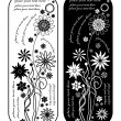 Two black and white vintage vector floral business banners - Stock Vector