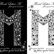 Two black and white letters of vintage floral alphabet, M — Stock Vector