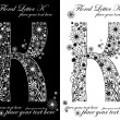 Two black and white letters of vintage floral alphabet, K — Stock Vector