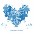 Blue modern heart with snowflakes, winter christmas background for text — Stock Vector