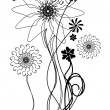 Black and white vector flowers — Stock Vector