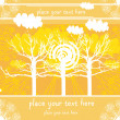 Autumn vector trees and clouds and sun, vector landscape, yellow background for text — Stock Vector