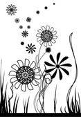 Vector flowers, black and white — Stock Vector
