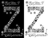 Two black and white letters of vintage floral alphabet, Z — Stock Vector