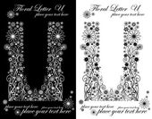 Two black and white letters of vintage floral alphabet, U — Vetorial Stock