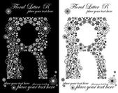 Two black and white letters of vintage floral alphabet, R — Vetorial Stock