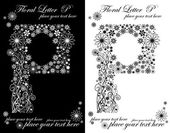 Two black and white letters of vintage floral alphabet, P — Vetorial Stock