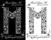 Two black and white letters of vintage floral alphabet, M — Stock vektor
