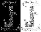Vintage çiçekli alfabe, iki siyah ve beyaz harf j — Stok Vektör