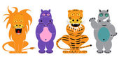 Lion, tiger, hippopotamus, rhinoceros, animals set cartoon — Stock Vector