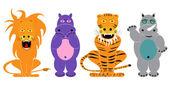 Lion, tiger, hippopotamus, rhinoceros, animals set cartoon — Stock Vector