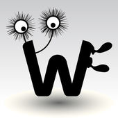 Letter w, funny character design — Stock Vector