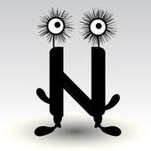 Harf n, komik karakter tasarımı — Stok Vektör