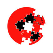 Isolated japanese concept symbol design or red black and white vector puzzles game cover — Stock Vector
