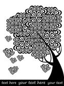 Graphic vector tree of love with hearts, background for text — Stock Vector