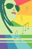Girl in glasses, rainbow and notes — Stock Vector