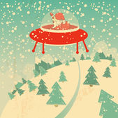 Christmas card with santa claus, snow and christmas trees, conceptual retro design — Stock Vector