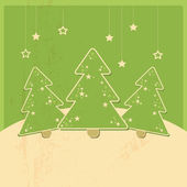Christmas card with christmas trees and stars, retro design — Stock Vector