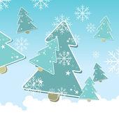 Fundo de natal com árvores de natal e flocos de neve — Vetor de Stock