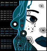 青いベクトル ハロウィーン女性漫画の肖像画、党テキストの背景 — ストックベクタ