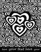 Black and white valentine's hearts, background for text — Stock Vector