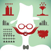 Bartender silhouette with mustache and glasses — Stock Vector