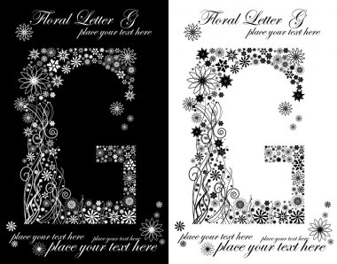 Two black and white letters of vintage floral alphabet, G
