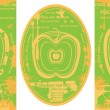 Royalty-Free Stock Vector Image: Set of three juice labels with green apple, two rectangle and one ellipse vector fruit tags