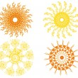 Stock Vector: Set of four isolated vector suns