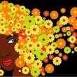 Vector cute african girl with floral hairs - Stock Vector