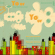 Vector city with bright buildings and clouds, grunge design and background for text with transparency effect - Stock Vector