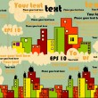 Vector city with bright buildings and clouds, background for text with grunge design - Stock Vector