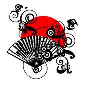 Japan vector symbol design with fan — Stock Vector