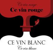 Red wine, white wine bottles background design — Stock Vector