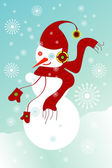 Snowman with gloves, hat, ear-phones, scarf and snowflakes — Vecteur